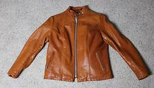 Vintage SCHOTT Tan Leather Women's Jacket Size M (Vtg 14) Motorcycle Biker USA