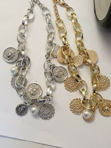 Chunky Chain Choker Collar Necklace  Pearl Bead Coin Charms Boho Ethnic Summer