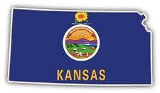 Kansas USA State Map Flag Car Bumper Sticker Decal 6'' x 3''
