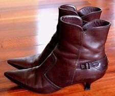 TOD'S Brown Leather Pointed Toe Ankle Boots Shoes Sz.8 M EUC WOW!