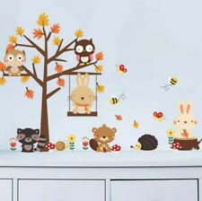 Woodland Animals Wall Decal 3D Stickers Childs Bedroom Nursery Playroom Bunny