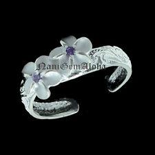 Flower 4mm Purple Cz Toe Ring Hawaiian 925 Silver Scroll Engraved 2 Plumeria
