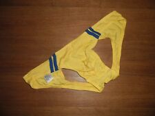 Mens Large Yellow Sexy Nylon Spandex Low Rise Backless Briefs Jock Lingerie UK