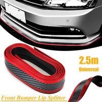 2.5M Carbon Fiber Front Bumper Spoiler Guard Lip Splitter Chin Protector Rubber
