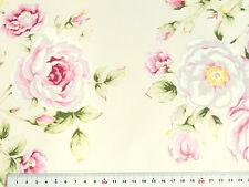 Rosen Deko Stoff Rosenstoffe Landhaus Bezugsstoffe rosa vanille f Gardinen Husse