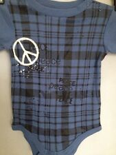 AMY COE NWT BOYS GRAPHIC BLUE/BLACK SNAPON TEE 6-9M 100%COTTON ONEPIECE S/S (18)