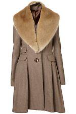 TOPSHOP Oatmeal Wool Fur Stole Collar Girly Skirted Princess Riding Coat 10 38
