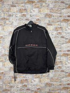 VINTAGE 90'S RETRO OLD UMBRO BLACK 1/4 ZIP OVERHEAD JACKET COAT MENS SIZE SMALL