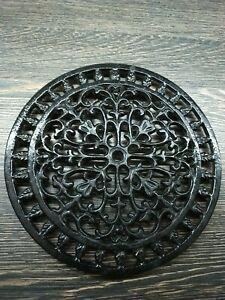 """8"""" Round Black Cast Iron Pot Trivet Celtic Floral Design"""
