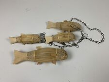 Vintage Rustic Wood Hand Carved 3 Fish on Chain Cabin Decor Folk Art Man Cave