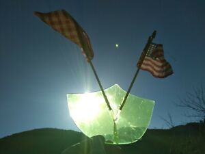 NOS vtg 1950s green Sinko stars and stripes bug deflector with two 48-star flags