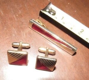 Vintage Brass & Red Tie Clasp Clip & Cufflinks Set ANSON #1
