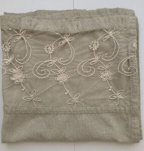 Country Cottage Beige Cotton Shower Curtain Floral Lace Trim