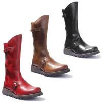 Fly London Mes 2 Women Red Brick Leather Matt Long Boots