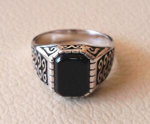 925 Sterling Silver Black Onyx Gemstone Engagement Boys Mens Ring Jewelry