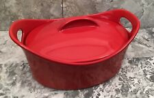 Rachel Ray Red Covered Oval Casserole Casseroval 4.25 Qt Stoneware Baking Dish