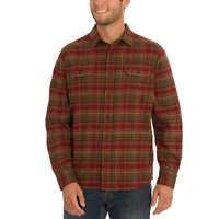 Orvis Men's Heavy Flannel Man Shirt Thick Plaid Full Sleeve Long Pocket in Chest