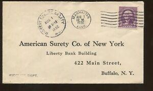 1932 Manhattan Kansas to Buffalo New York American Surety Company Postal Cover