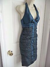 Nicole Miller Collection Dress 4 Halter Wiggle Pencil Blue DARK TEAL 100% Silk