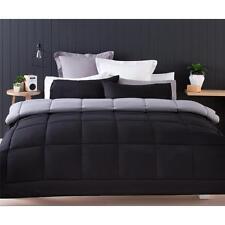 Reversible Black Grey Comforter Pillowcase 3pc Set King Bedding Set Quilt Duvet