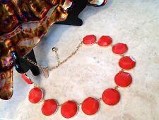 NEW Game Day Orange Statement Necklace Women's Dress Bubble Bib Collar US