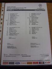 28/09/1999 Colour Teamsheet: Chelsea v Galatasaray [Champions League] . Thank yo