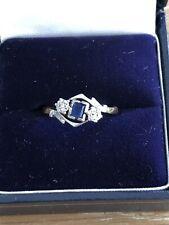 9ct Gold, Platinum Vintage Trilogy Diamond sapphire Ring hallraked size K