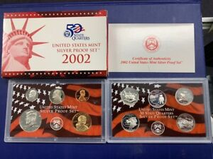 2002-S U.S. Silver Proof Set: Complete 10-Coin Set, with Box and COA   POSTPAID