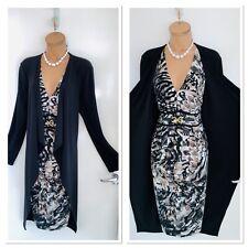 JOSEPH RIBKOFF Animal Print Embellished Jersey Dress With Attached Cardigan Uk18