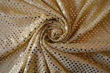 GOLD SEQUIN LUREX JERSEY DISCO DANCE FANCY DRESS CRAFT FABRIC MATERIAL