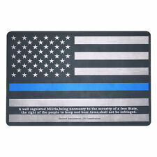 "Gun Cleaning Mat 11""x17"" the Thin Blue Line Flag of USA with Zippered Pouch"