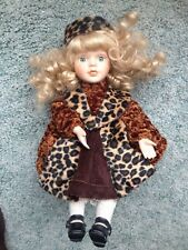 Leopard Outfit Bisque Porcelain Musical Doll With Wind-up Music Knob