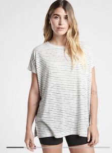 New! ATHLETA Release Striped Tee Breezy Stripe White Size Medium # 980660