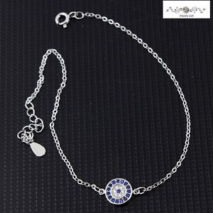 """Women / Girl 925 Sterling Silver CZ Round Evil Eye Chain Anklet Bracelet 8-9.7"""""""