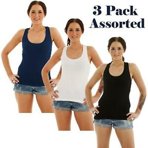 3 Pack Assorted Womens Ladies Sleeveless Stretch Ribbed Vest T Shirt Cami Top
