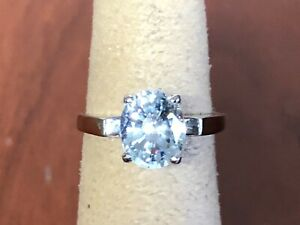 ESTATE 14K SOLID WHITE GOLD LIGHT BLUE STONE  RING, Size 4.75