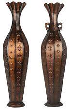 Tall Bronze Floor Standing Vase. Stunning Metal Vase with & without handles