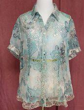 BONITA Womens Sheer Blue Paisley Floral Button Down Short Sleeve Shirt Size L
