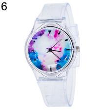 Kids Women Clear Colorful Dial Silicone Band Quartz Analog Wrist Watch Showy