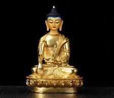 "8"" Antique Tibet Tibetan Buddhism copper gilt hand painting Mitukpa statue"
