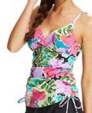 Real Solutions Island Escape Tankini Top Sz 12 Pink Shirred Surplice 207219