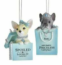 KURT ADLER SET OF 2 CITY GLAMOUR BLUE, WHITE & SILVER PUPPY ORNAMENTS w/ SAYINGS