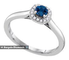 diamond sapphire .33 ct halo 14K white gold engagement ring anniversary birthday