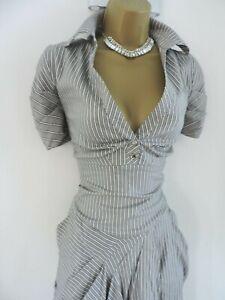 Karen Millen Size UK 16 PINSTRIPE SHIRT DRESS IN GREY