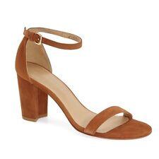 Stuart Weitzman 'NearlyNude' Ankle Strap Sandal Saddle Suede SZ 7.5M