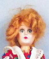 Vintage Hard Plastic Dollhouse Doll Red Mohair Wig 6 inch Flowered Dress