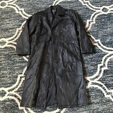 Men's Italian Stone Leather Trench Coat Sz Xl Good Condition