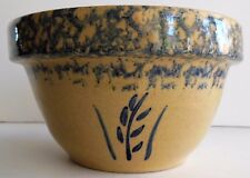 RRP Robinson Ransbottom Pottery Blue Spongeware 1 QT Mixing Bowl Wheat Nesting