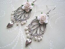 WHITE ROSE PEARL TEARDROP SP Ornate Chandelier Heart Charm SP Earrings Wedding