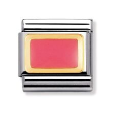 Nomination Pink Rectangle Enamel Stainless Steel and 18K Gold Charm RRP £22